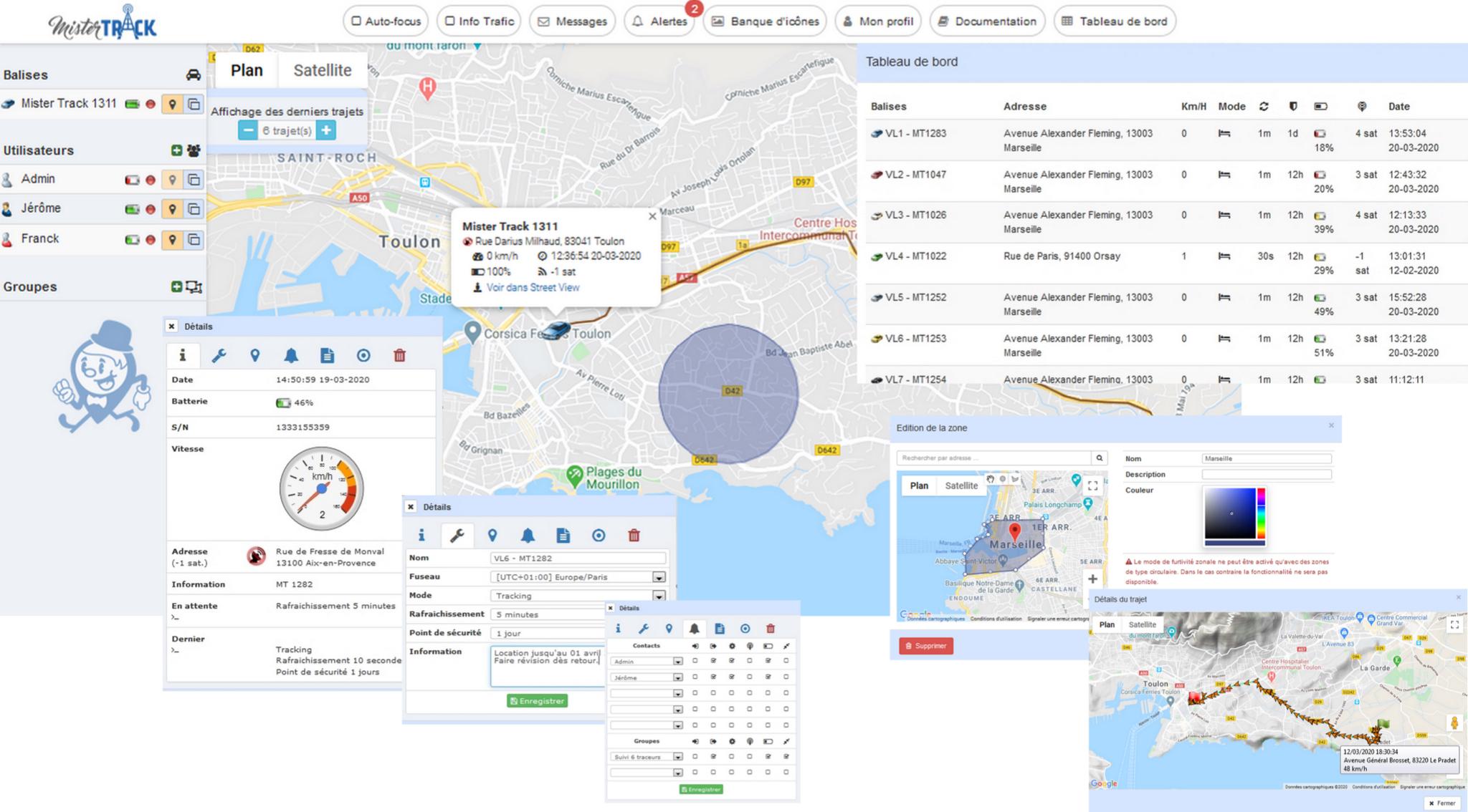 Plataforma de monitoreo de gestión de flotas Mister Track