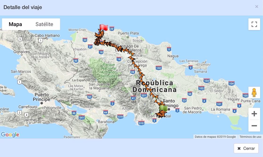 Informe detallado trayecto en Republica Dominicana